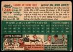 1954 Topps #240  Sam Mele  Back Thumbnail