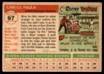 1955 Topps #97  Carlos Paula  Back Thumbnail