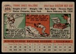 1956 Topps #304  Frank Malzone  Back Thumbnail