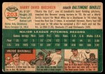1954 Topps #203  Harry Brecheen  Back Thumbnail