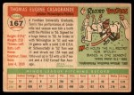 1955 Topps #167  Tom Casagrande  Back Thumbnail