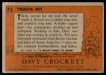 1956 Topps Davy Crockett #75 ORG  Travis Hit  Back Thumbnail