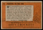 1956 Topps Davy Crockett #73 ORG  Fighting To The End  Back Thumbnail