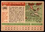 1955 Topps #155  Eddie Mathews  Back Thumbnail