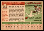 1955 Topps #137  Harry Elliott  Back Thumbnail