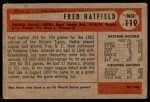 1954 Bowman #119  Fred Hatfield  Back Thumbnail
