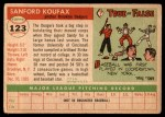 1955 Topps #123  Sandy Koufax  Back Thumbnail