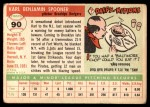 1955 Topps #90  Karl Spooner  Back Thumbnail