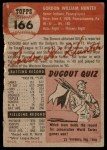 1953 Topps #166  Bill Hunter  Back Thumbnail