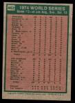 1975 Topps Mini #462   -  Walter Alston / Joe Ferguson 1974 World Series - Game #2 Back Thumbnail