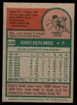 1975 Topps Mini #536  Bob Moose  Back Thumbnail