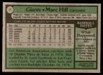 1979 Topps #11  Marc Hill  Back Thumbnail