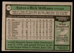 1979 Topps #437  Rick Williams  Back Thumbnail
