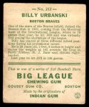 1933 Goudey #212  Billy Urbanski  Back Thumbnail