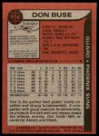 1979 Topps #114  Don Buse  Back Thumbnail