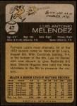 1973 Topps #47  Luis Melendez  Back Thumbnail