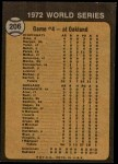 1973 Topps #206   -  Gene Tenace 1972 World Series - Game #4 - Tenace Singles in Ninth Back Thumbnail