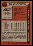 1979 Topps #61  Nick Weatherspoon  Back Thumbnail