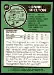 1977 Topps #26  Lonnie Shelton  Back Thumbnail