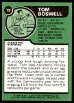 1977 Topps #19  Tom Boswell  Back Thumbnail