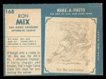 1961 Topps #168  Ron Mix  Back Thumbnail