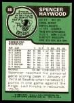 1977 Topps #88  Spencer Haywood  Back Thumbnail
