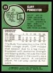 1977 Topps #21  Cliff Pondexter  Back Thumbnail