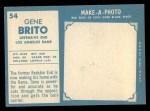 1961 Topps #54  Gene Brito  Back Thumbnail