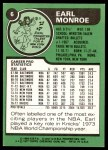 1977 Topps #6  Earl Monroe  Back Thumbnail