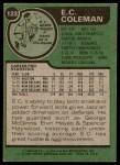 1977 Topps #123  EC Coleman  Back Thumbnail