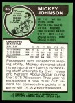 1977 Topps #86  Mickey Johnson  Back Thumbnail