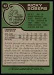 1977 Topps #42  Ricky Sobers  Back Thumbnail