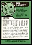 1977 Topps #54  Tim Bassett  Back Thumbnail