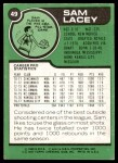 1977 Topps #49  Sam Lacey  Back Thumbnail