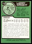 1977 Topps #112  Larry Wright  Back Thumbnail