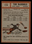 1962 Topps #116  Tommy McDonald  Back Thumbnail