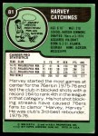 1977 Topps #81  Harvey Catchings  Back Thumbnail