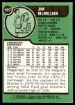 1977 Topps #107  Jim McMillian  Back Thumbnail