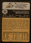 1973 Topps #328  Bill Bonham  Back Thumbnail
