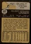 1973 Topps #247  Del Unser  Back Thumbnail