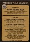 1973 Topps #116 BRN  -  Ralph Houk / Jim Hegan /  Elston Howard / Dick Howser / Jim Turner Yankees Leaders Back Thumbnail