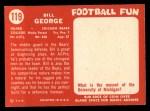 1958 Topps #119  Bill George  Back Thumbnail
