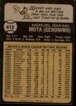 1973 Topps #412  Manny Mota  Back Thumbnail