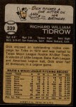 1973 Topps #339  Dick Tidrow  Back Thumbnail