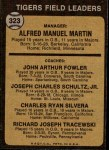 1973 Topps #323   -  Billy Martin / Art Fowler / Joe Schultz / Charlie Silvera / Dick Tracewski Tigers Leaders Back Thumbnail