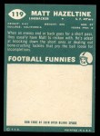 1960 Topps #119  Matt Hazeltine  Back Thumbnail