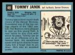 1964 Topps #49  Tom Janik  Back Thumbnail