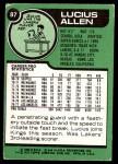 1977 Topps #87  Lucius Allen  Back Thumbnail
