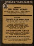 1973 Topps #136 ORG  -  Earl Weaver / George Bamberger / Jim Frey / Billy Hunter / George Staller Orioles Leaders Back Thumbnail