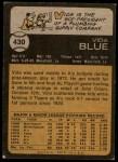 1973 Topps #430  Vida Blue  Back Thumbnail